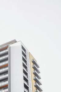 Tall building with white sky
